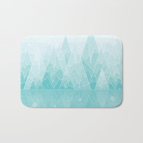 Geometric Lake Mountain IV - Winter Bath Mat