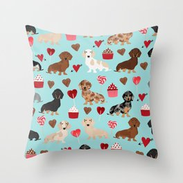 Dachsund dachsie doxie valentines day valentine hearts love cupcakes cute dog gifts Throw Pillow