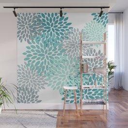 Festive, Winter Garden, Flowers Print Wall Mural