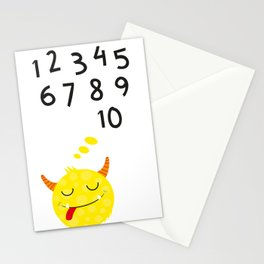 Sweet monster and numbers Stationery Cards
