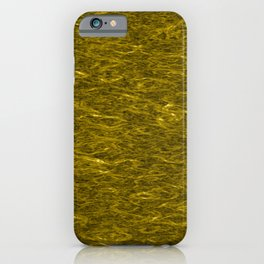 Horizontal metal texture of bright highlights on gold waves. iPhone Case