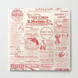 The antique newspaper, vintage design illustration Metal Print