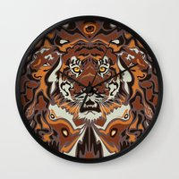 tigers Wall Clocks featuring Tigers by Darish