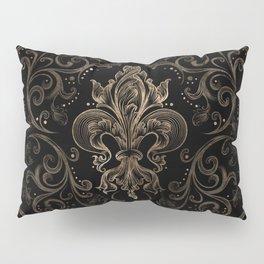 Fleur-de-lis ornament Black and Gold Pillow Sham
