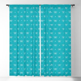 Bee Stamped Motif on Pool Blue Blackout Curtain