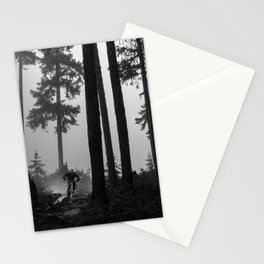Mountain Biker in the Misty Bike Park Stationery Cards