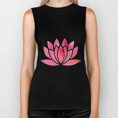 Watercolor Lotus Flower Yoga Zen Meditation Biker Tank