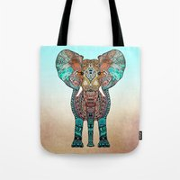 earth Tote Bags featuring ElePHANT by Monika Strigel