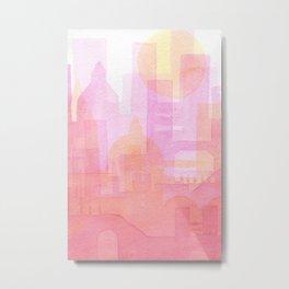 Pink and golden city watercolor Metal Print