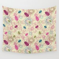 bees Wall Tapestries featuring Busy Bees by Amanda Dilworth
