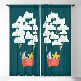 Hot cloud baloon - moon and star Blackout Curtain