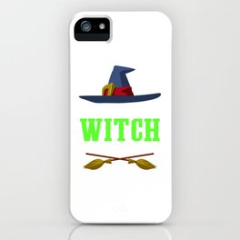Resting Witch Face Broomstick Hat Spooky Halloween iPhone Case