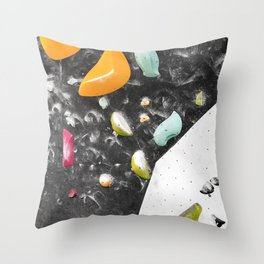 Colorful summer bouldering gym wall climbing holds girls Throw Pillow