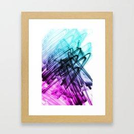 Aqua and Cerise Abstract Fluid Lines Framed Art Print