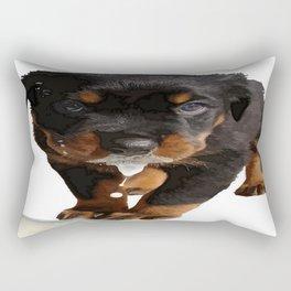 Cute Rottweiler Puppy Lapping Milk Vector Rectangular Pillow