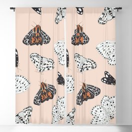 Muted Illustrated Moth Pattern Blackout Curtain