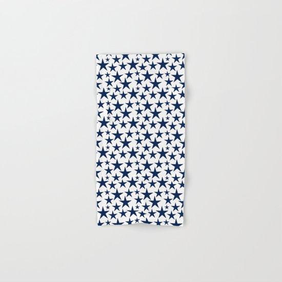 Blue stars on white background illustration Hand & Bath Towel