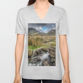 Tryfan Mountain River Unisex V-Neck