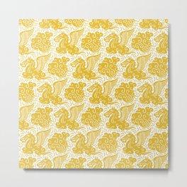 Pegasus Pattern Mustard Yellow Metal Print