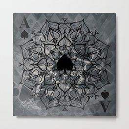 Ace of Spades Mandala Metal Print