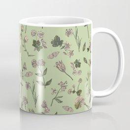 BOTANICAL WILDFLOWERS Pattern -  Green  Coffee Mug