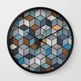 Colorful Concrete Cubes - Blue, Grey, Brown Wall Clock