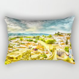 Obidos, small and authentic fortified town in Portugal Rectangular Pillow