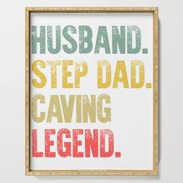 Funny Men Vintage T Shirt Husband Step Dad Caving Legend Serving Tray