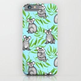 Koala Pattern Charitable Art (Blue Background) iPhone Case