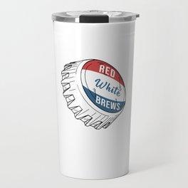 Cool Patriotic American USA Flag Colors Red White Brews Travel Mug