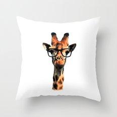 Hipster Giraffe Throw Pillow