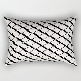 Modern Diamond Lattice 2 Black on Light Gray Rectangular Pillow
