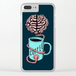 Coffee for the brain. Funny coffee illustration Clear iPhone Case