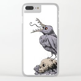 Black Bird on Skull Clear iPhone Case