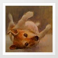 jack russell Art Prints featuring jack russell by woolerroad /elizabeth hutchinson