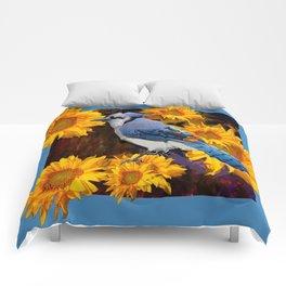 BLUE JAY YELLOW SUNFLOWERS ART Comforters