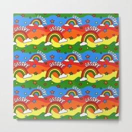 Rainbow Groovy Print Metal Print