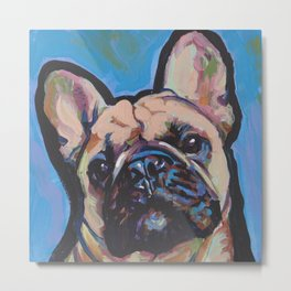 Fun French Bulldog Dog Portrait bright colorful Pop Art by LEA Metal Print