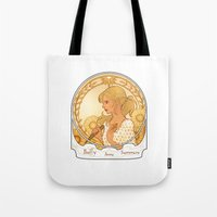 buffy Tote Bags featuring Buffy Summers  by Morgane Grosdidier de Matons