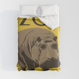 Vintage Visit The Zoo Hippo Duvet Cover
