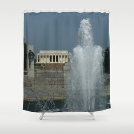 Memorial Fountain  And Lincoln Memorial Shower Curtain