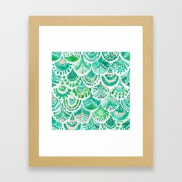 VENUS DE MER Green + Blush Mermaid Scales Framed Art Print