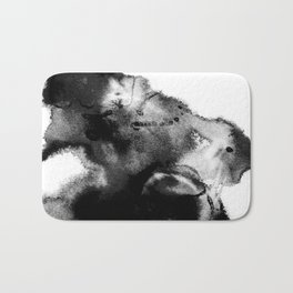 Black & White Watercolor Scape Bath Mat