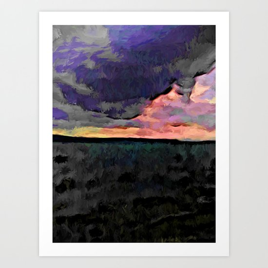 Pink Sky with Lavender Clouds and the Dark Sea Art Print