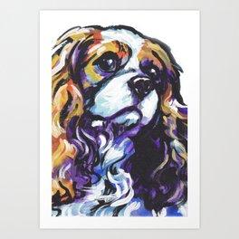 Blenheim Cavalier King Charles Spaniel Dog Portrait Pop Art painting by Lea Art Print