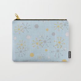 Grey Yellow Geometric Circles Blue Bkgrd Carry-All Pouch