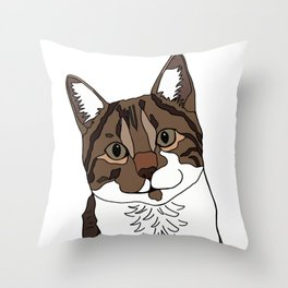Timmy the smiling cat Throw Pillow
