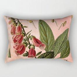 Vintage Botanical Illustration Collage, Foxgloves, Digitalis Purpurea Rectangular Pillow