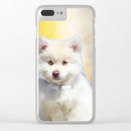 American Eskimo Dog Art Portrait Clear iPhone Case