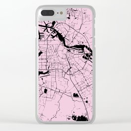 Amsterdam Pink on Black Street Map Clear iPhone Case